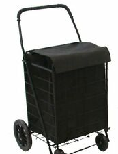 Folding Shopping Cart Basket Rubber wheels Laundry Grocery Travel Free Blk Liner