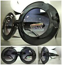 New OVERSIZE EXAGGERATED RETRO VINTAGE SUNGLASSES X-Large Thick Round Gray Frame