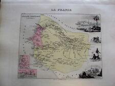 CARTE DE FRANCE EN COULEUR  DE VUILLEMIN 19 EME AFRIQUE FRANCAISE