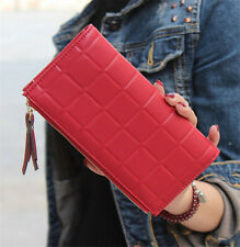 Long Patent Leather Red Women Wallet Cowhide Zipper Clutch Bag Money Purse