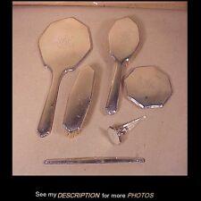 Antique 1880-1927 Wm Kerr Sterling Silver 6pc Vanity / Dresser Set