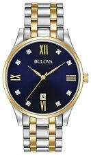 New Bulova 98D130 Diamond Dark Blue Dial Two Tone Stainless Steel Men's Watch