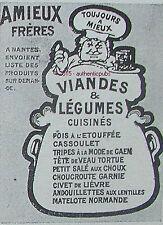 PUBLICITE AMIEUX FRERES VIANDE & LEGUME CHEF CUISINE DE 1907 FRENCH AD PUB RARE