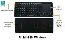 Rii Mini i6 Wireless - Tastiera retroilluminata con telecomando IR per Smart TV