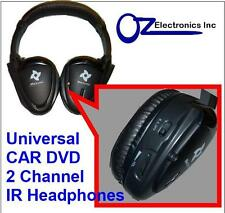 UNIVERSAL Infrared Wireless IR Headphones Dual Channel 2 Channel Car DVD NEW