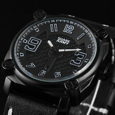 SHARK ARMY Men's Sport Black Leather Date Military Luxury Wrist Quartz Watch New