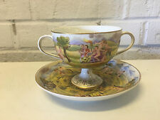 Vintage Antique German Porcelain Cup & Saucer w/ Italian Capodimonte Decoration