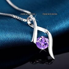 ELEGANT Amethyst Crystal Pendant Silver Necklace Promise Gifts For Her Mum Women