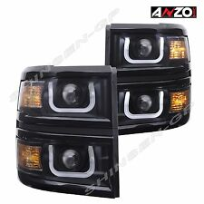 Anzo U-BAR Style Dual Projector Headlights Black 2014-2015 Chevy Silverado 1500