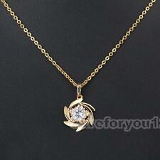 Chic 18k Gold-Filled Crystal Storm Gem Chain Necklace Lady Pendant Jewelry