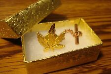 1 (one) Gold MARIJUANA Leaf Design/Shape Tie Pin w/Tie Back & Safety Chain  New