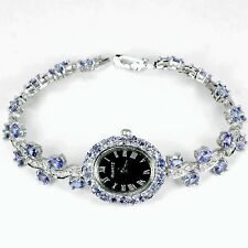 NATURAL 67.10 CT AAA VIOLET TANZANITE WATCH BRACELET WHITE GOLD/STERLING SILVER