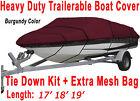 17' 18' 19' V-Hull Fish - Ski Trailerable Boat Cover Burgundy Color B3121R