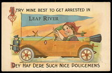 c 1915 Large Open Automobile LEAF RIVER PENNANT Dutch Girl POLICEMAN Comic PC IL