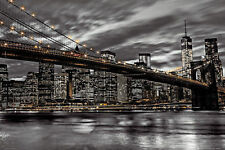 NEW YORK CITY SKYLINE POSTER - 24x36 MANHATTAN NIGHT NYC BRIDGE ASSAF 33930