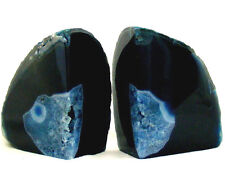 Large Blue Agate and Quartz Crystal Bookend Set Polished Geode Section 1666g