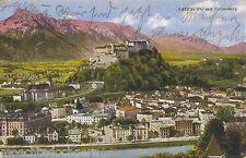 SALZBURG MIT UNTERSBERG ~ KÜNSTLERKARTE ÖSTERREICH ~ COLORIERT ~ GELAUFEN 1928