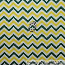 BonEful Fabric FQ Cotton Quilt VTG White Yellow Green Bay Packers Chevron Stripe