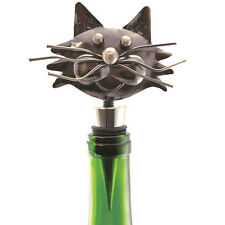 NEW Decorative Whimsical Metal Kitty Cat Wine Bottle Stopper With Rubber Seal