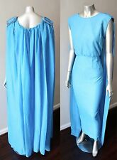 Goddess Pencil Silk Cape Vintage 70s Sheath Draped Cocktail Party Blue Dress  M