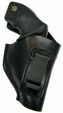 BLACK LEATHER IWB CLIP HOLSTER w/ COMFORT TAB - CHARTER ARMS PINK CHIC LADY 38