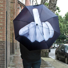 Creative Middle Finger Windproof Three Folding Compact Strong Frame Umbrella