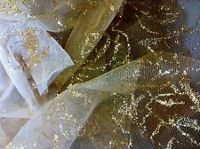 """5 y Lot Golden Glitter Roses Brown 2 Beige Ombre Mesh Fade 2 center 60""""w FABRIC"""