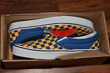 new VANS yellow blue checkerboard slip on mens size 8 womens 9.5 checkered NWB