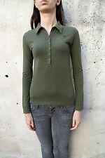 Wrangler Ladies Military Green Top Shirt Long Sleeved Stretch Fit Fitted M NICE