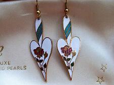 VINTAGE JEWELERY GORGEOUS CLOISONNE ENAMEL FLOWER LOVELY SHAPED DROPPER EARRINGS