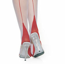 2 TONE RED WHITE BACK SEAM CUBAN HEEL SHEER STOCKINGS FOR LOVERS BY LEG AVENUE