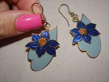 Gold Tone Metal Cloisonne Flower Dangle Pierced Earrings