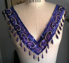 **FULL NECKLINE** FRONT BACK Bead & Sequin Applique PURPLE - GOLD