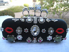 ALEXANDER MCQUEEN NEW SWAROVSKI CRYSTAL KNUCKLE SKULL BLACK SATIN BOX/CLUTCH