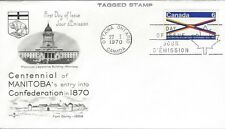 1970 #505p Manitoba Centennial TAGGED FDC with Rose Craft cachet