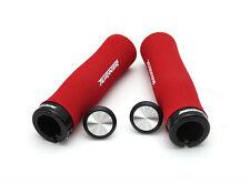 1 Pair Red Foam Handlebar Grips Lock-On Soft For MTB Folding BMX Bike Handlebars