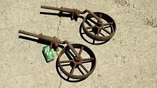 ANTIQUE INDUSTRIAL RR FACTORY CART VTG COFFEE TABLE CAST IRON METAL WHEELS HUGE