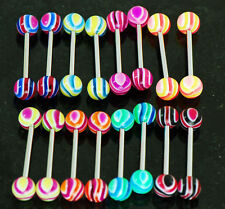 "20 Pc (10 Pairs) UV Swirling Ball Tongue Rings Nipple Barbells 14g 5/8"" 8 Colors"