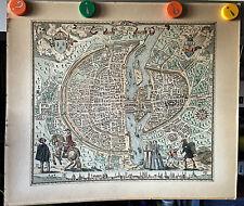 ANCIENNE AFFICHE POSTER MAP CARTE PARIS PARISY ROSSINGOL 1576 MELCHIOR