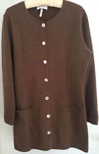 RODIER FRANCE BROWN WOOL SWEATER COAT SIZE MED. EUC EURO SIZE 40