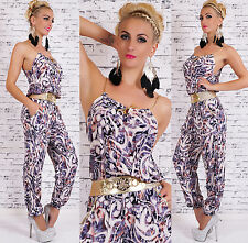 HOT Sexy Women's Summer Jumpsuit Cotton Catsuit With Gold Belt Size 8,10,12