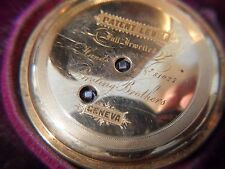 BreTing Brothers 18k  gold Hunting Case Pocket Watch and original # case
