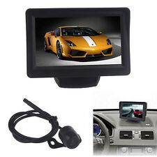 "4.3"" Car TFT LCD Monitor Mirror+ Reverse Rear View Backup CMOS Camera Waterproof"