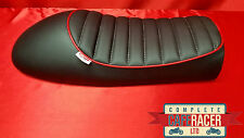 LS2 CAFE RACER BRAT TRACKER SEAT FINISHED IN BLACK LEATHERETTE WITH RED PIPING