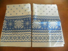 RALPH LAUREN BLUE & WHITE PAIR OF PILLOWCASES-COOL PATTERN!-100% COTTON