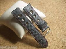 22mm CARBON GRAIN BLACK LEATHER GRAND PRIX SPORTS WATCH STRAP WITH RED STITCHING