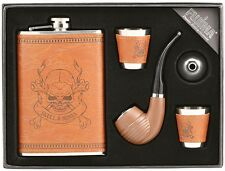 9oz Leather Wrap Stainless Steel Liquor Flask, Pipe, Funnel, 2 Shot Cup Gift Set