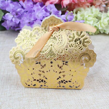 50x Gold Laser Cut Hollow Candy Box Favor Gift Bag&Ribbon For Wedding Party USA