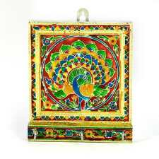 "UFC Mart Multicolor Meenakari Artwork Three Key Stand in White Metal 5""X6"""