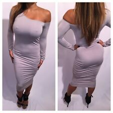 Connie's Bodycon Long Sleeved Open One Shoulder Gray Cocktail Dress W/ Ruched S